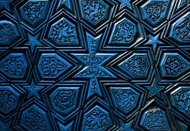 Oriental Ornaments, Wooden Door Detail Close Up ,blue Version.