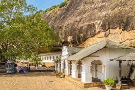 Dambulla,sri Lanka - February 5,2020 - View At The Dambulla Cave Complex. Dambulla Caves Is The Larg