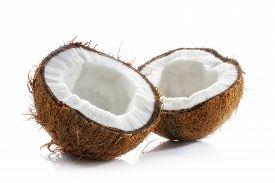 Coconut Opened. Halved Ripe Coconut Closeup