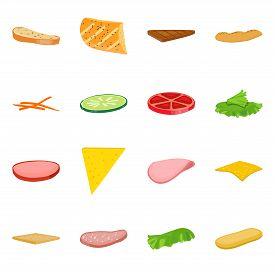Isolated Object Of Sandwich And Snack Symbol. Set Of Sandwich And Fastfood Vector Icon For Stock.