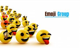 Emoji Group Yellow Winking Face. Funny Cartoon Emoticon Icon. 3d Illustration For Chat Or Message.