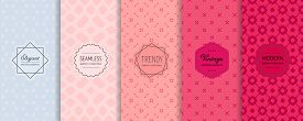 Vector Floral Geometric Seamless Patterns Collection. Set Of Elegant Colorful Background Swatches Wi