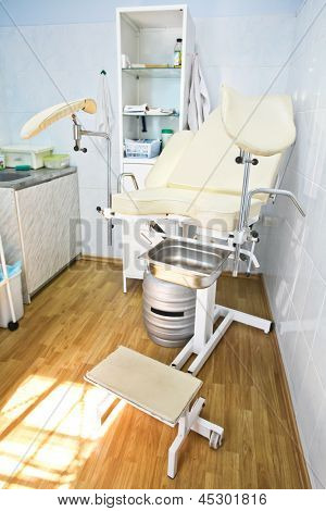 The image of an empty gynaecological consulting room