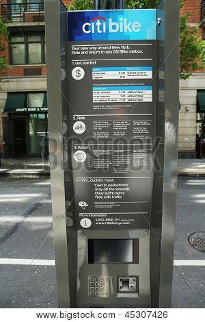 Citi bike station kiosk terminal ready for business in New York