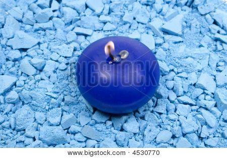 Blue Candle With Fire