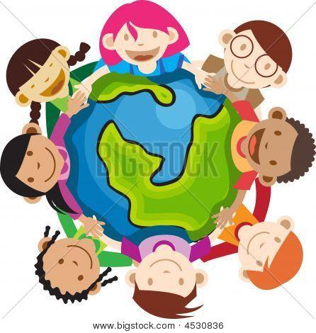 Multi Ethnic Kids Holding Globe