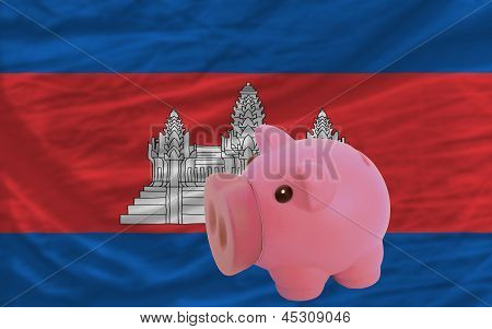 Piggy Rich Bank And  National Flag Of Cambodia