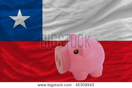 Piggy Rich Bank And  National Flag Of Chile