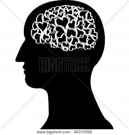 Heart  Brain In Black Colour Vector.eps