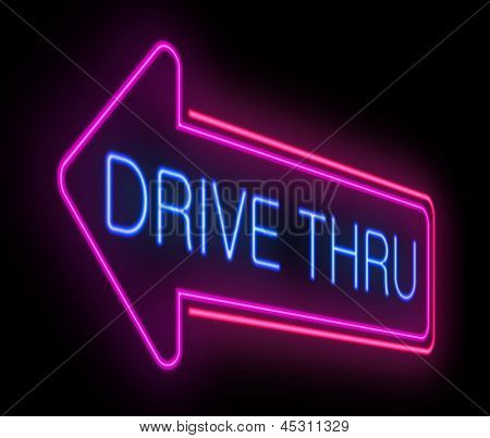 Drive Thru Neon Sign.