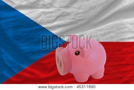 Piggy Rich Bank And  National Flag Of Czech