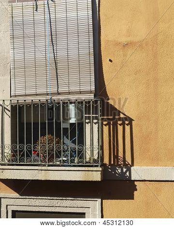 Balcony With Sunblind. Barcelona.