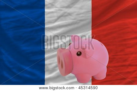 Piggy Rich Bank And  National Flag Of France