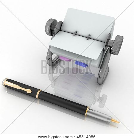 Rotary card address and pen. 3d render illustration isolated on white