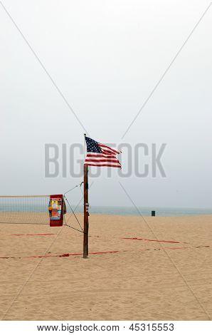 The American Flag on Hermosa Beach