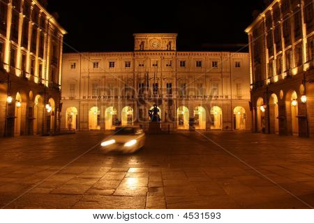 Turin City Hall Building And Taxi