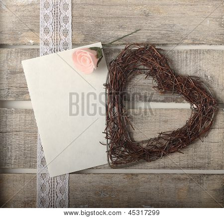 Pink Roses And Heart Greeting Card
