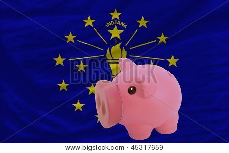 Piggy Rich Bank And  Flag Of American State Of Indiana