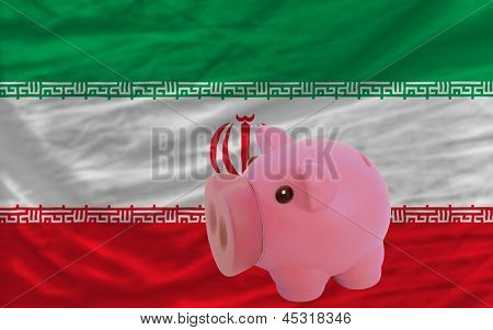 Piggy Rich Bank And  National Flag Of Iran