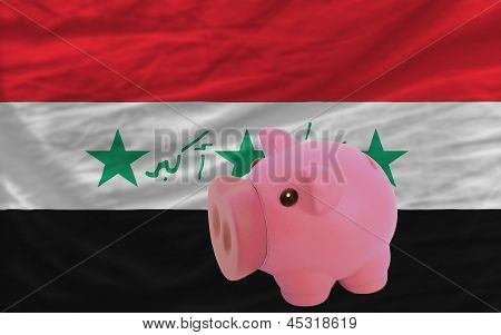 Piggy Rich Bank And  National Flag Of Iraq