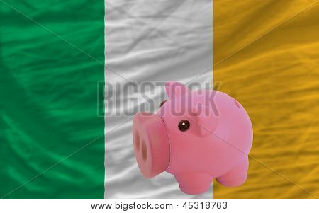 Piggy Rich Bank And  National Flag Of Ireland