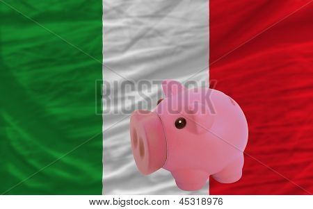 Piggy Rich Bank And  National Flag Of Italy