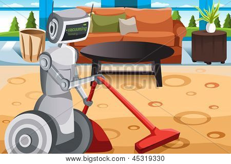 Robot Vacuuming Carpet