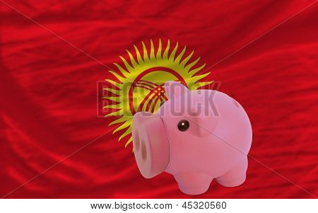 Piggy Rich Bank And  National Flag Of Kirghizstan