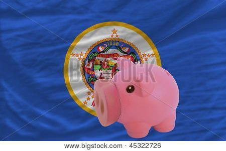 Piggy Rich Bank And  Flag Of American State Of Minnesota