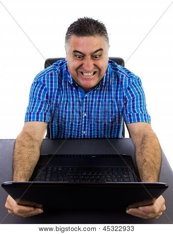 Angry Businessman Destroying His Laptop