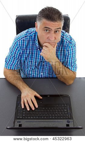 Doubtful Businessman At Laptop