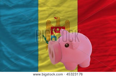 Piggy Rich Bank And  National Flag Of Moldova