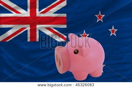 Piggy Rich Bank And  National Flag Of New Zealand