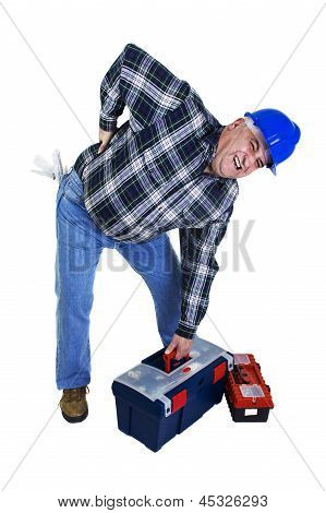 Workman With Backache Lifting Tools