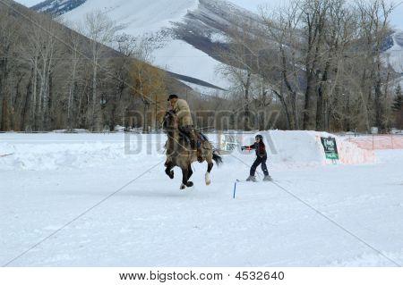 Ski Joring Rider And Skier 1