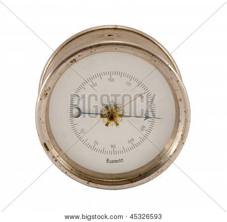 old vintage barometer forecasting weather isolated on white background. poster