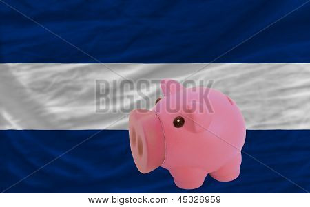 Piggy Rich Bank And  National Flag Of Nicaragua