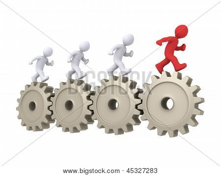 The Leader Is Running In Front Of Others