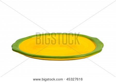 Yellow plate for food isolated on white background clipping path