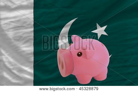 Piggy Rich Bank And  National Flag Of Pakistan