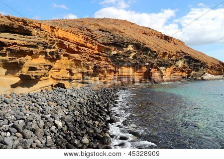 Tenerife Canary Islands Spain - beautiful sandstone coast of Playa Amarillo poster
