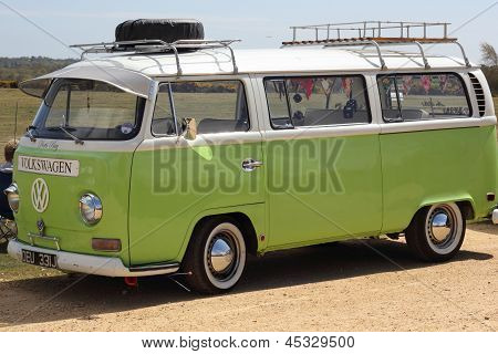 A restored Retro camper van in england