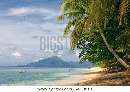 tropical white sandy beach banda islands indonesia poster
