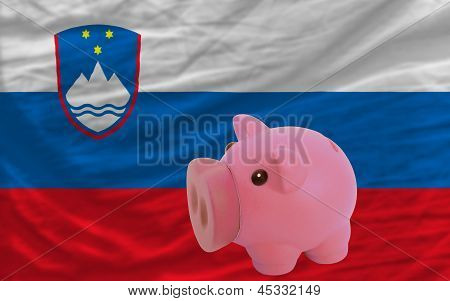 Piggy Rich Bank And  National Flag Of Slovenia