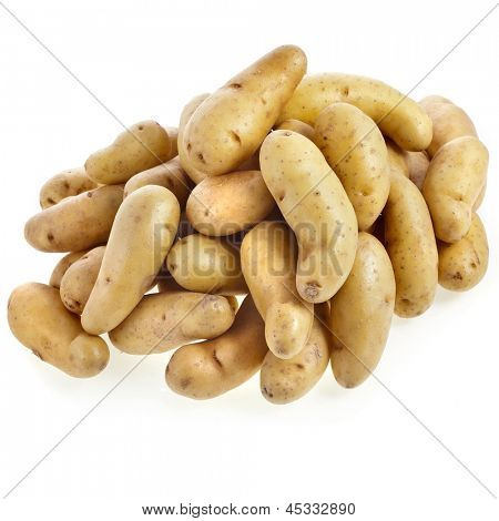 Ratte potatoes heap isolated on a white background. poster