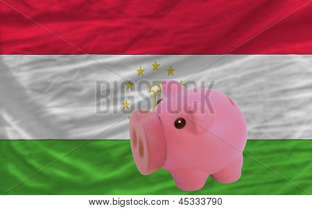 Piggy Rich Bank And  National Flag Of Tajikistan