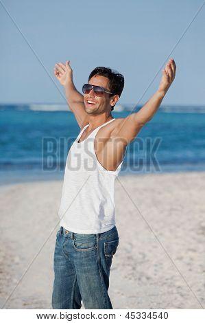 Man enjoying on the beach