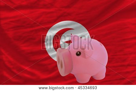 Piggy Rich Bank And  National Flag Of Tunisia