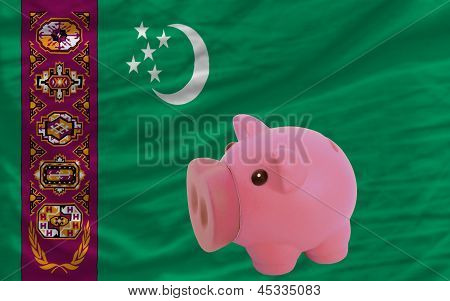 Piggy Rich Bank And  National Flag Of Turkmenistan