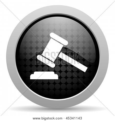 law black circle web glossy icon